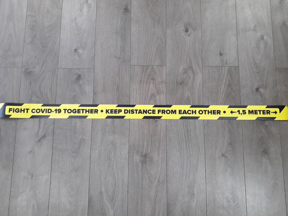 Floor line sticker keep distance 1.5 Meter