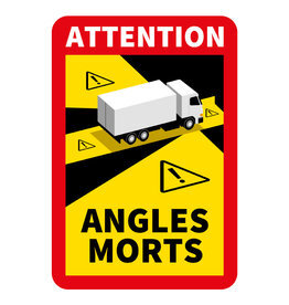 Dode hoek - Attention Angles Morts Vrachtwagen Sticker (17 x 25 cm) (Prijs = incl. BTW)