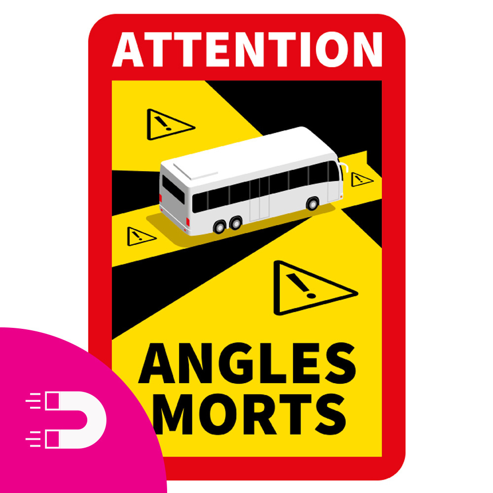 Magnetic Plate Dead Angle - Attention Angles Morts Bus (17 x 25 cm) (Price = incl. VAT)